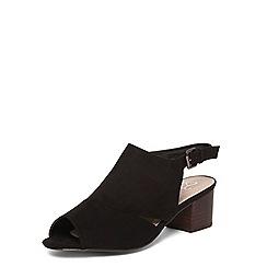 Evans - Extra wide fit black cut out block heel sandals