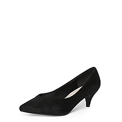 Evans - Extra wide fit black suedette kitten heel court shoes