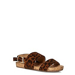 Evans - Extra wide fit leopard print footbed sandals