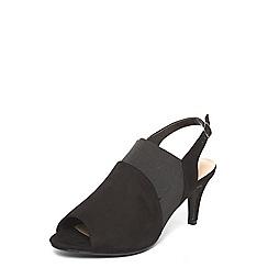 Evans - Extra wide fit black slingback heel sandals
