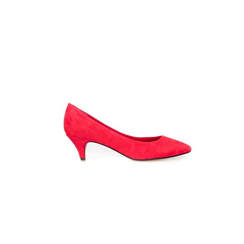 Evans - Extra Wide Fit Red Kitten Heel Pointed Court Shoes