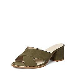 Evans - Extra wide fit khaki cross front mule sandals