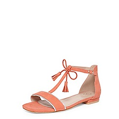 Evans - Extra wide fit coral t-bar square toe sandals