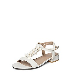 Evans - Extra wide fit white ruffle sandals