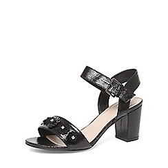 Evans - Extra wide fit black flower block heel sandals