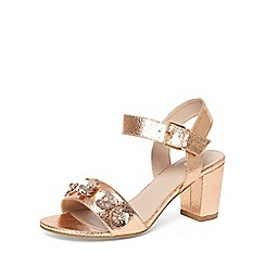 Evans - Extra wide fit bronze flower block heel sandals