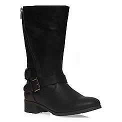 Evans - Extra wide fit black diagonal zip biker boot
