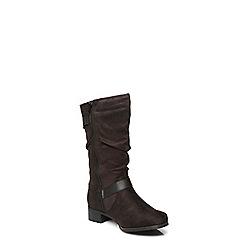 Evans - Black suedette biker boots