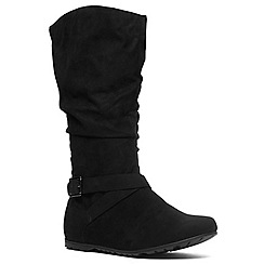 Evans - Extra wide fit black suedette slouch boot