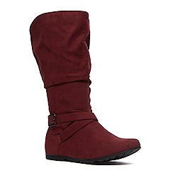 Evans - Extra wide fit berry suedette slouch boot