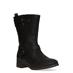 Evans - Extra wide fit black stud biker boot