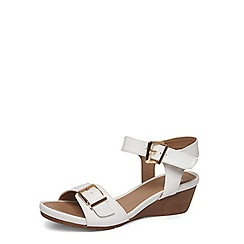 Evans - Extra wide fit white two part mid heel wedge sandals