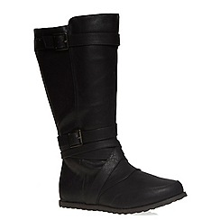 Evans - Extra wide fit black double strap calf boot