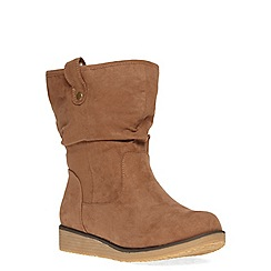 Evans - Tan shearling calf boots