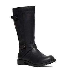 Evans - Extra wide fit black double strap biker boot