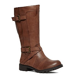 Evans - Extra wide fit brown double strap biker boot