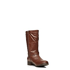 Evans - Brown stitch seam buckle biker boots