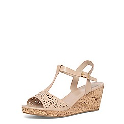 Evans - Extra wide fit nude t-bar wedges