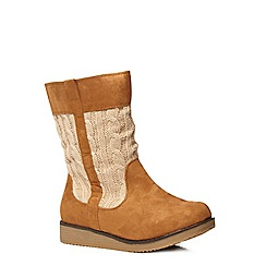Evans - Tan cable knit casual boots