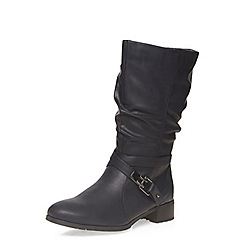 Evans - Black stud buckle strap biker boots