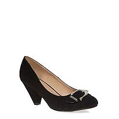 Evans - Extra wide fit black suedette buckle heel