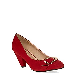 Evans - Extra wide fit red suedette buckle heel