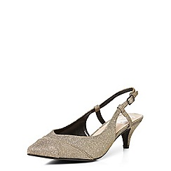 Evans - Extra wide fit silver slingback kitten heel sandals