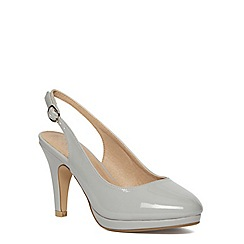 Evans - Extra wide fit grey patent slingback heel