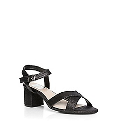Evans - Extra wide fit black glitter block heel sandals