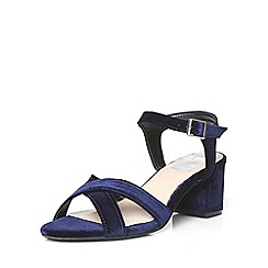 Evans - Extra wide fit navy blue velvet block heel sandals