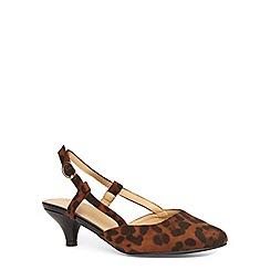 Evans - Extra wide fit leopard suedette slingback heel