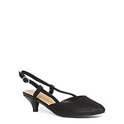 Evans - Extra wide fit black glitter slingback heel