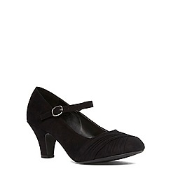 Evans - Extra wide fit black suedette ruched heel