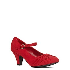 Evans - Extra wide red suedette ruched heels