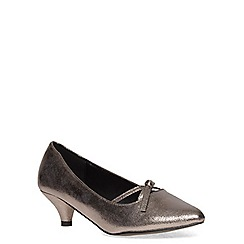 Evans - Extra wide fit silver shimmer bow kitten heel