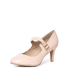 Evans - Extra wide fit pink patent heel court shoes