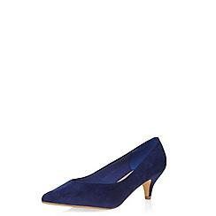 Evans - Extra wide fit blue suedette heel