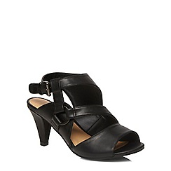 Evans - Extra wide fit black cut out strap heels