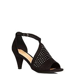 Evans - Black suedette gem trim heels