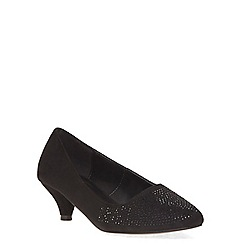 Evans - Extra wide fit black gem kitten heel