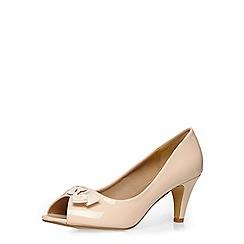 Evans - Extra wide fit nude patent peeptoe heel