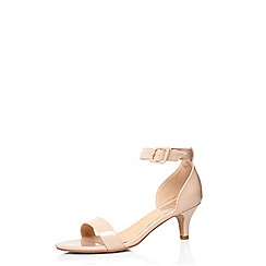 Evans - Extra wide fit nude patent heeled sandal