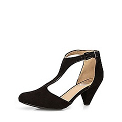 Evans - Extra wide fit black t-bar heel