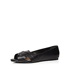 Evans - Extra wide fit black weave peeptoe pump