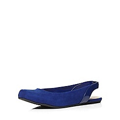 Evans - Extra wide fit blue square toe sling back shoe