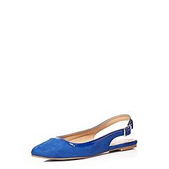 Evans - Extra wide fit blue suedette slingback shoe