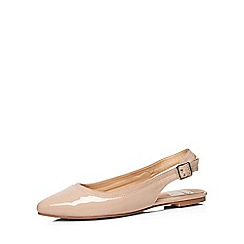 Evans - Extra wide fit nude patent slingback shoe
