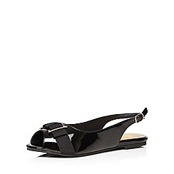 Evans - Extra wide fit black bow patent slingback