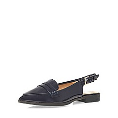 Evans - Extra wide fit navy patent slingback loafer
