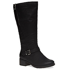 Evans - Extra wide fit black zip long boot